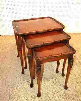 3pc Reprodux carved walnut nesting tables