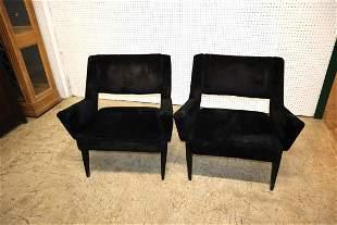 PR MCM black velour arm chairs