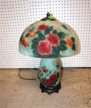 Antique style reverse painted 3 lighted lamp