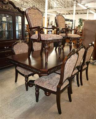 9pc - Mahogany dining room table and 8 chairs