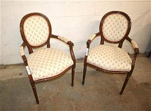 PR French mahogany upholstered arm chairs
