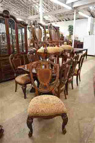 11pc Burl walnut DRS Table and 10 chairs