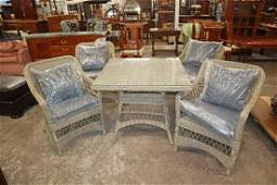 NEW 5pc resin wicker glass top table and 4 chairs