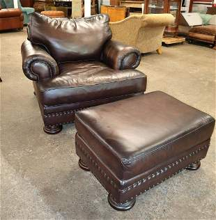 Bernhardt tacked leather club chair & ottoman