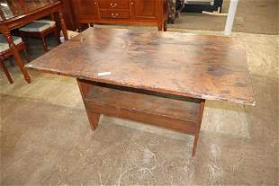 Antique country flip top bench table