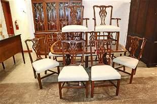 Ethan Allen burl mah banded DRT + 10 chairs
