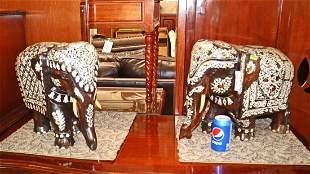 PR Asian rosewood inlay elephants