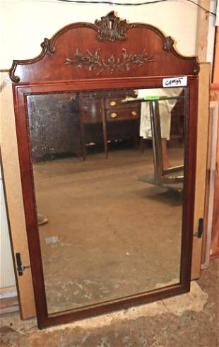 Vintage mahogany carved mirror