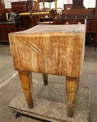 Semi antique handmade butcher block