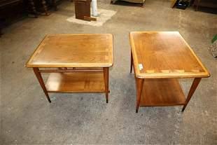 PR MCM Lane Danish walnut 2 tone lamp tables