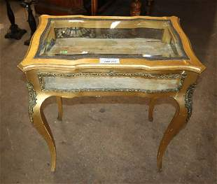 Antique French display table with applied bronze