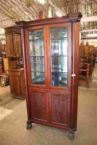 Antique mah paw foot Empire corner cabinet