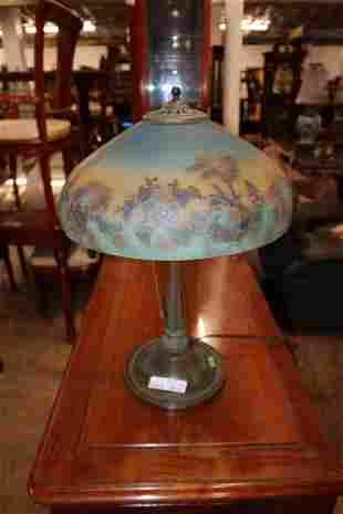 Antique Bradley Hubbart reverse painted lamp