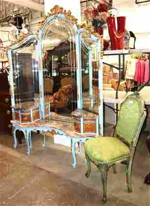 Fantastic French marble top vanity and chair
