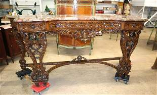 Beautiful pierced carved marble top buffet