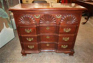 Mahogany shell carved block front bachelor chest