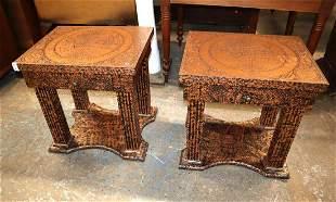 Pair Maitland Smith lamp tables