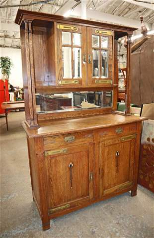Antique Arts + Crafts oak buffet with mirror top