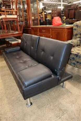 Modern design black leather sofa bed
