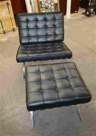 Barcelona style chrome/leather chair & ottoman