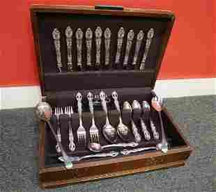 56pc fancy pierced carved silver-plate flatware
