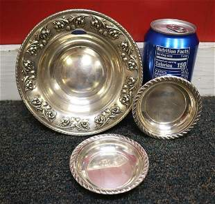 3pc fancy sterling bowl with 2 sterling salts