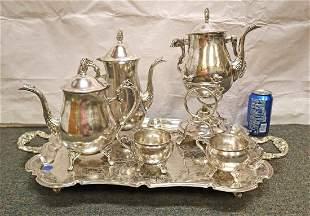 Fancy 6pc silver plated tea set