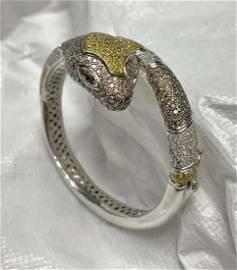 18kt gold & multicolor diamond serpent bracelet