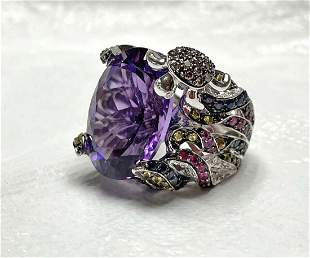 18kt gold amethyst, diamond & sapphire ring