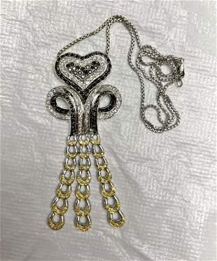 14kt white gold & multicolor diamonds pendent