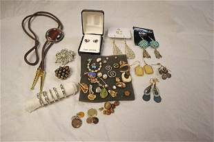 Bolo tie and mix lot of costume jewelry
