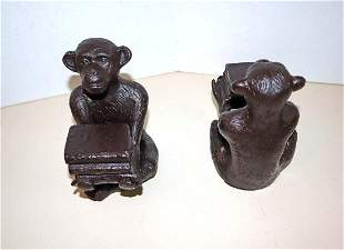 Pair bronze wrapped monkey bookends