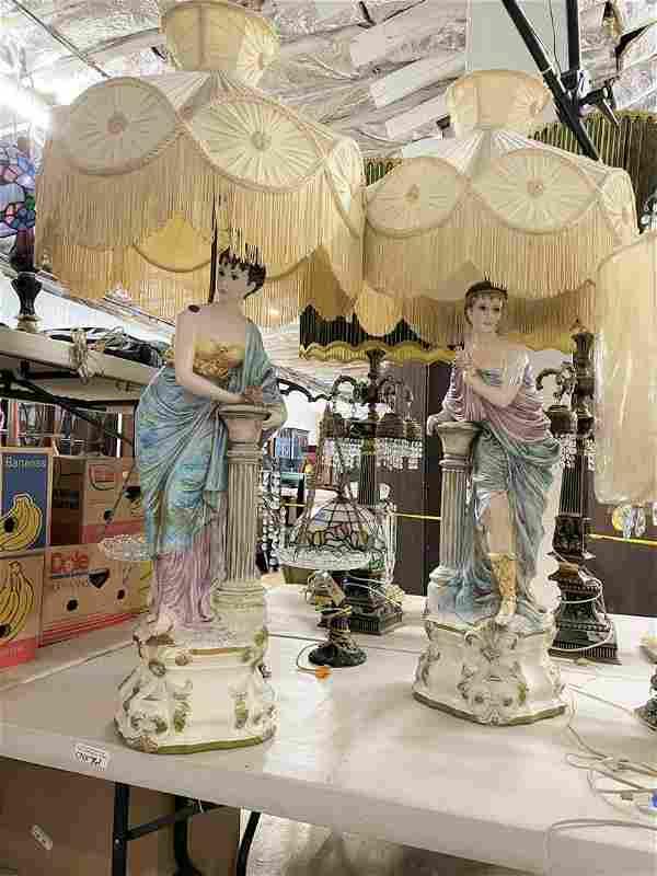 Large pair porcelain figural lamps w/shades