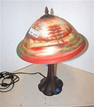 Antique style reverse painted shade lamp