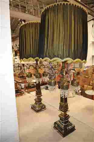 Lg pair of Vint metal/marble Italian table lamps