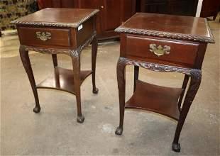 Pair sol mah rope carved 1 drawer stands