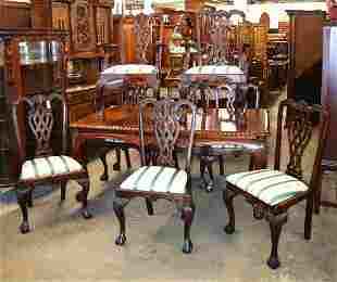9pc sol mahogany dining room table and 8 chairs