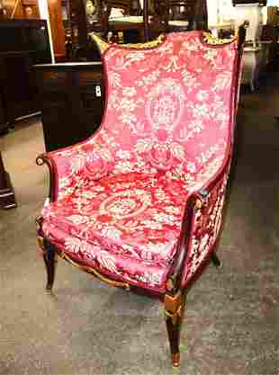 Vintage wing back mahogany frame fireside chair