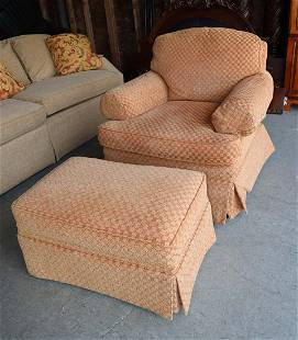 2pc Sherrill upholstered club chair w/ottoman