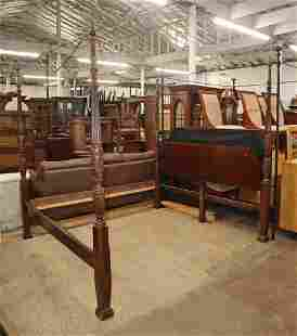 Banded mahogany king size poster bed with rails
