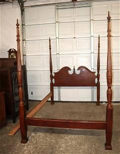 Contemporary mahogany 4 poster queen bed