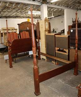 Mahogany queen size poster bed with rails