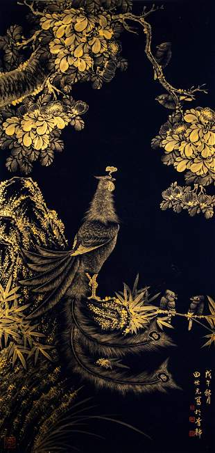CHINESE PAINTING AND CALLIGRAPHY, GOLDEN PHOENIX