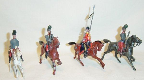 606: (4) Pcs. Britains Pre-War Mounted Figures