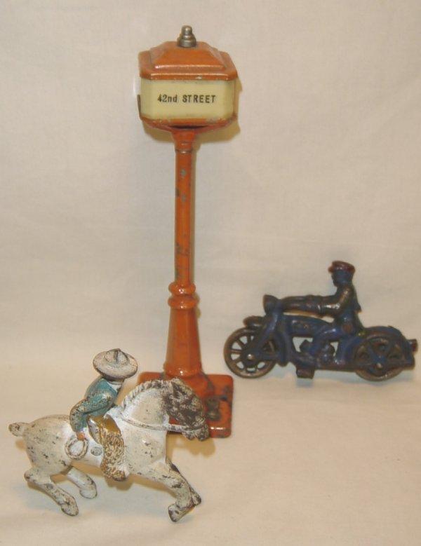 620: (3) Pcs. Cast Iron Motorcycle Cop