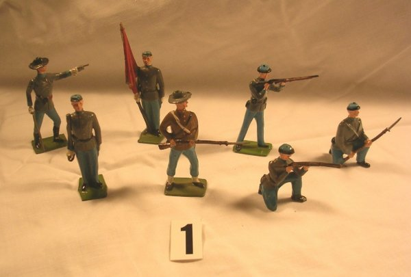1: (7) Pcs. Britains Confederate Infantry Toy Soldiers