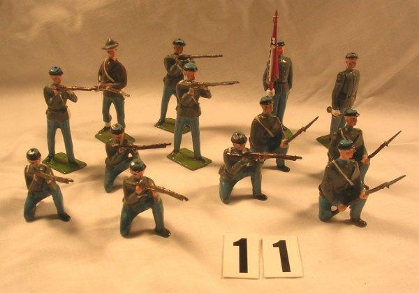 11: (13) Pcs. Britains Misc. Confederate Infantry