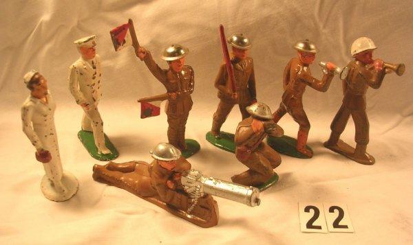 22: (8) Pcs. Dimestore Lot Barclay Toy Soldiers