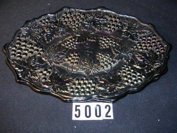 5002: Northwood Carnival Glass Grape & Cable Dresser Tr
