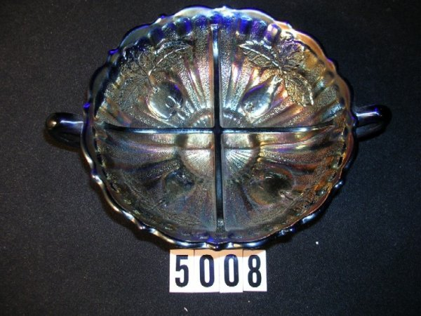 5008: Fenton Carnival Glass Two Fruits Divided Dish